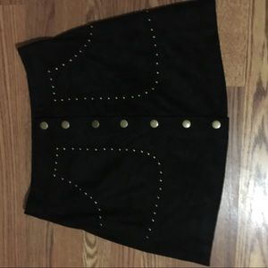 Black studded button down suede skirt